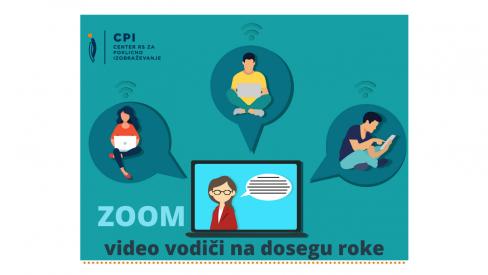 Grafični prikaz štirih uporabnikov, ki uporabljajo računalnik za medsebojno komuniciranje. ZOOM: video vodiči za uporabo aplikacije ZOOM.