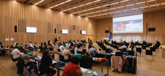 Picture of the conference hall at Brdo with participants of the conference International Conference: 10 years of Slovenian Qualifications Framework.